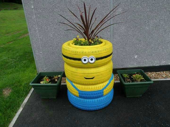 Innovative Ideas For Classroom Decoration ~ Minion tyre flower pot interiors exteriors more