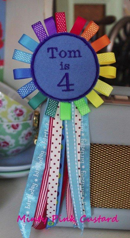 Blue Rainbow Birthday Badge by Minty Pink Custard in my online fair