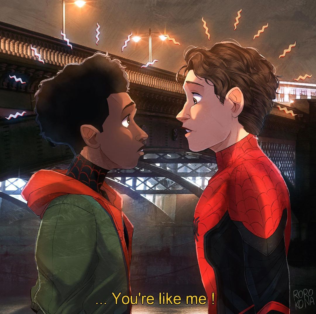"Roro!! on Instagram: ""Miles Morales & Peter Parker � - FFH will introduce multiverse... ...there is also an Iron Man mural done in the trailer ... .. and…"""