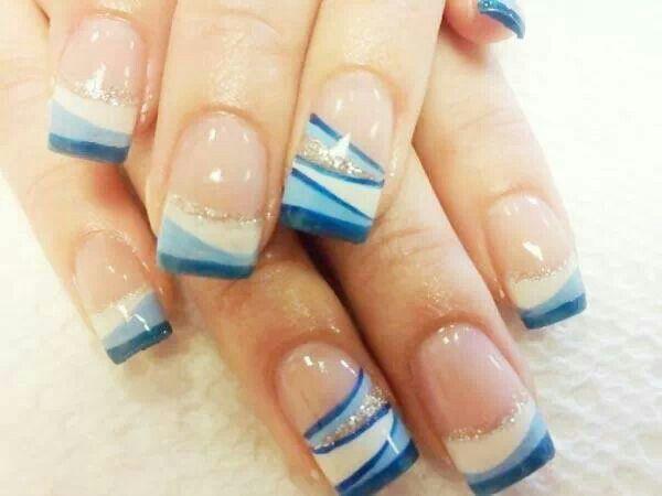 Blues - White - Silver - Nail design | Nail art | Pinterest | Silver ...