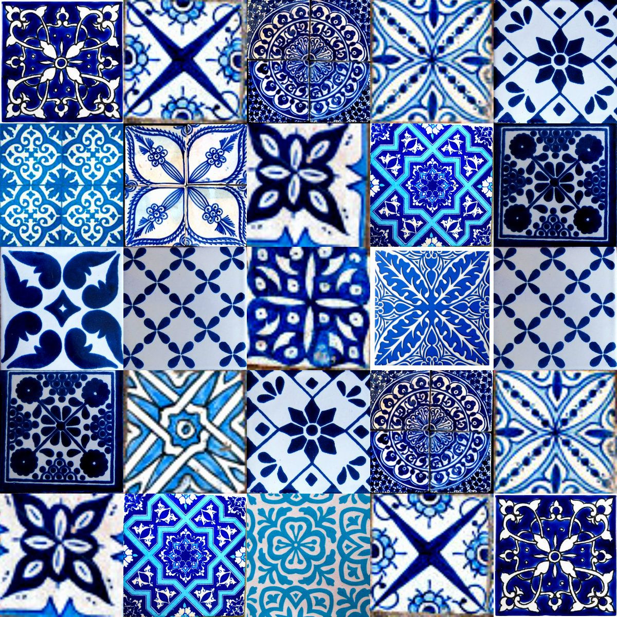 Bemalte Fliesen Marrakesh Moroccan Tiles Blue Kitchen Marokkanische Fliesen