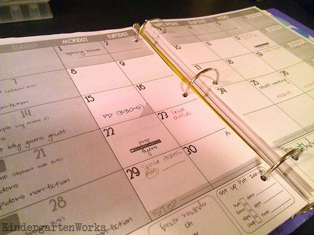 Printable  Teacher Planning Calendar Template  Teaching
