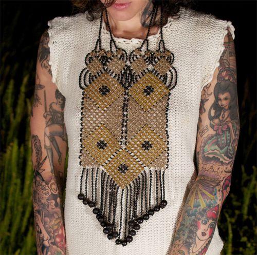 Awajun Enkepa Breastplate Beaded Necklace Saffron & Black