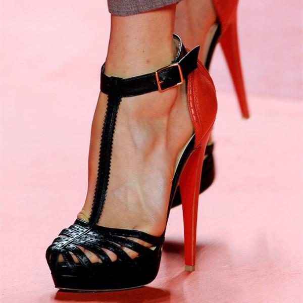 Black and Red T Strap Sandals Platform High Heel Shoes for Party, Night club, Date | FSJ #strappyheels #strappysandals #barefootsandals#highheels #sexyshoes  #heelsaddict #instaheels #shoelove #loveheels #shoesaddict #shoesaholic #summerheels #summershoes#shoeaddict #heelsaddict #shoelover #shoelove #shoesday #instaheels #designershoes #shoetrends #iloveheels #iloveshoes #laceupheels