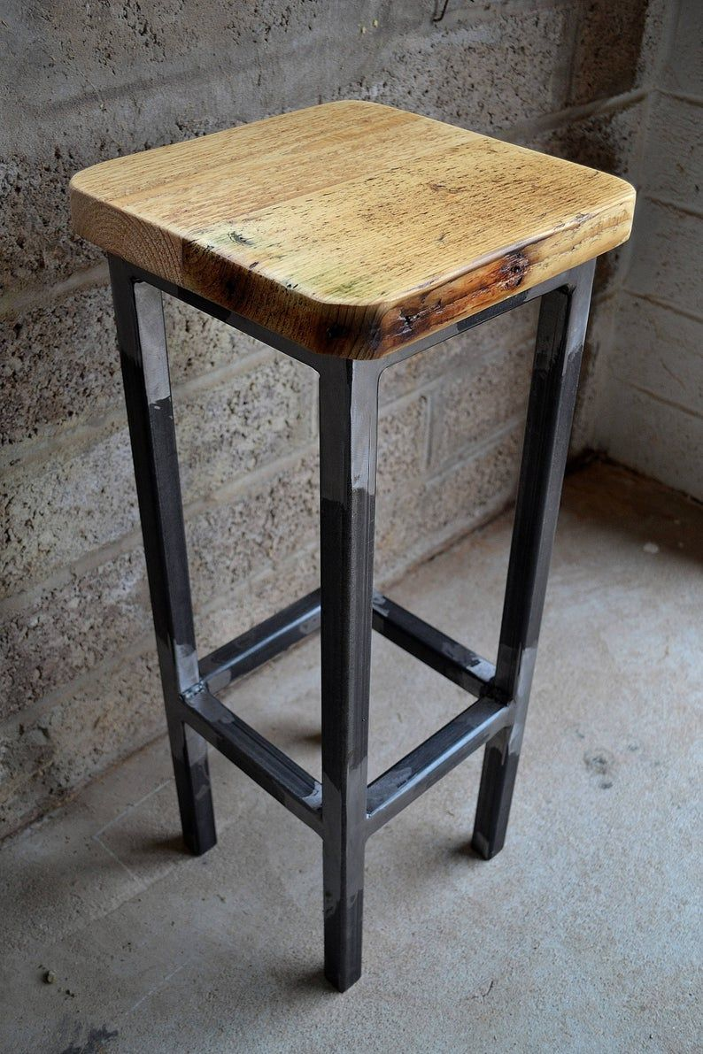 Industrial Bar Kitchen Stool With Reclaimed Wood Seat Home Etsy Metal Bar Stools Reclaimed Wood Furniture Wood Bar Stools Metal stool with wood seat