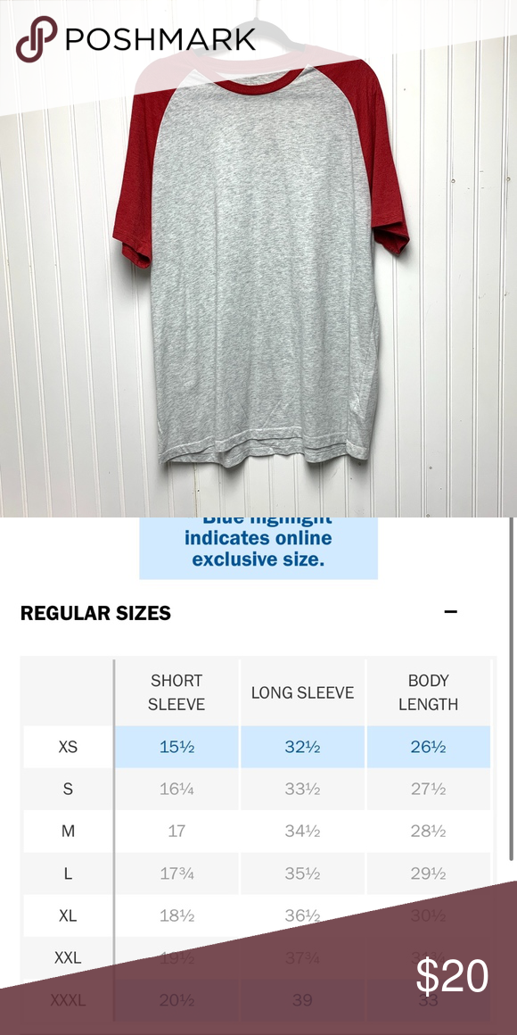 Old Navy Red And Gray Baseball Tee Old Navy Red And Gray Baseball Tee See Size Chart For Approx Sizing Old Navy Shirts Tees Shor In 2020 Red Grey Old Navy Tees
