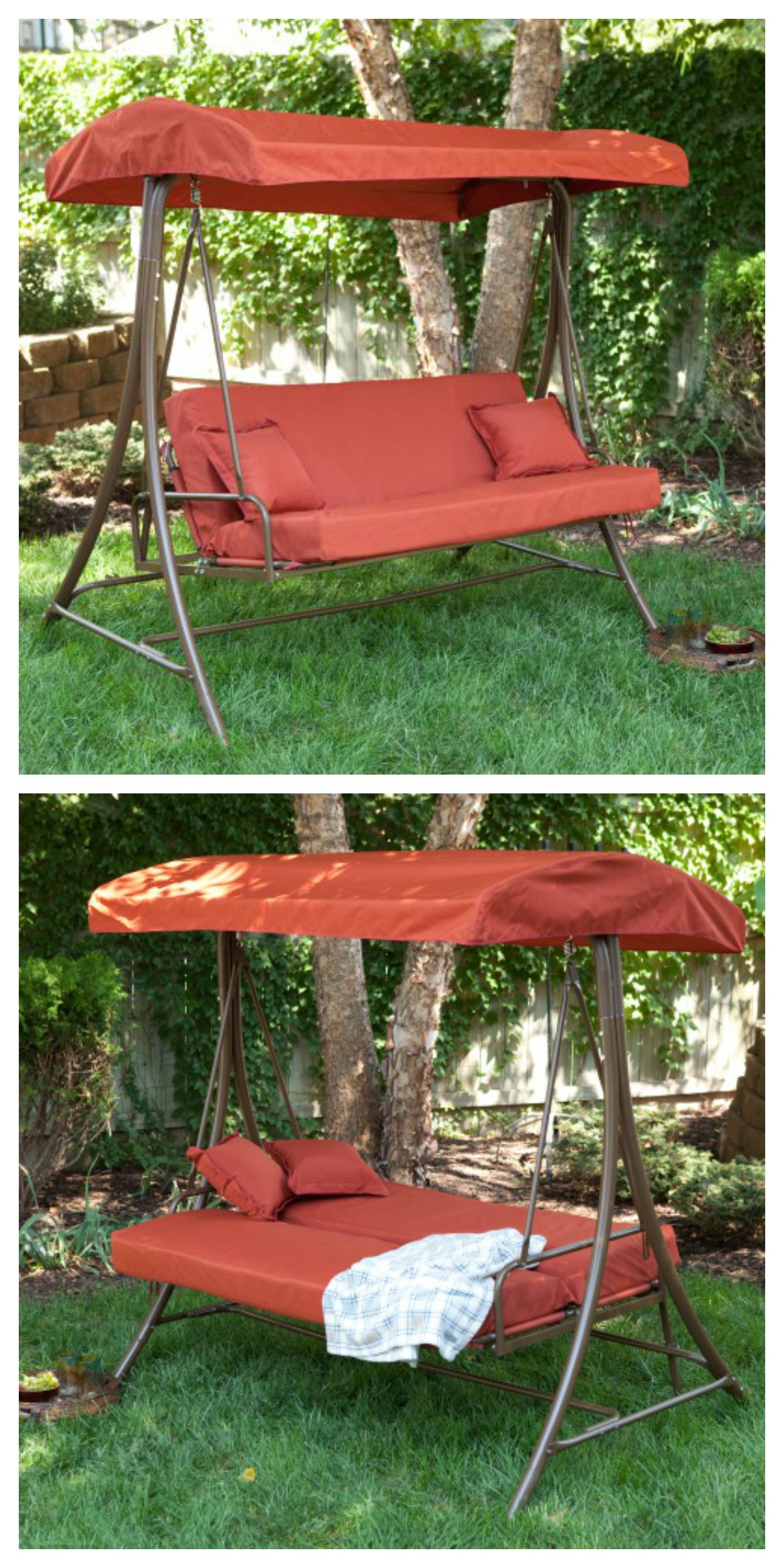 Coral Coast Siesta 3 Person Canopy Swing Bed Terra Cotta