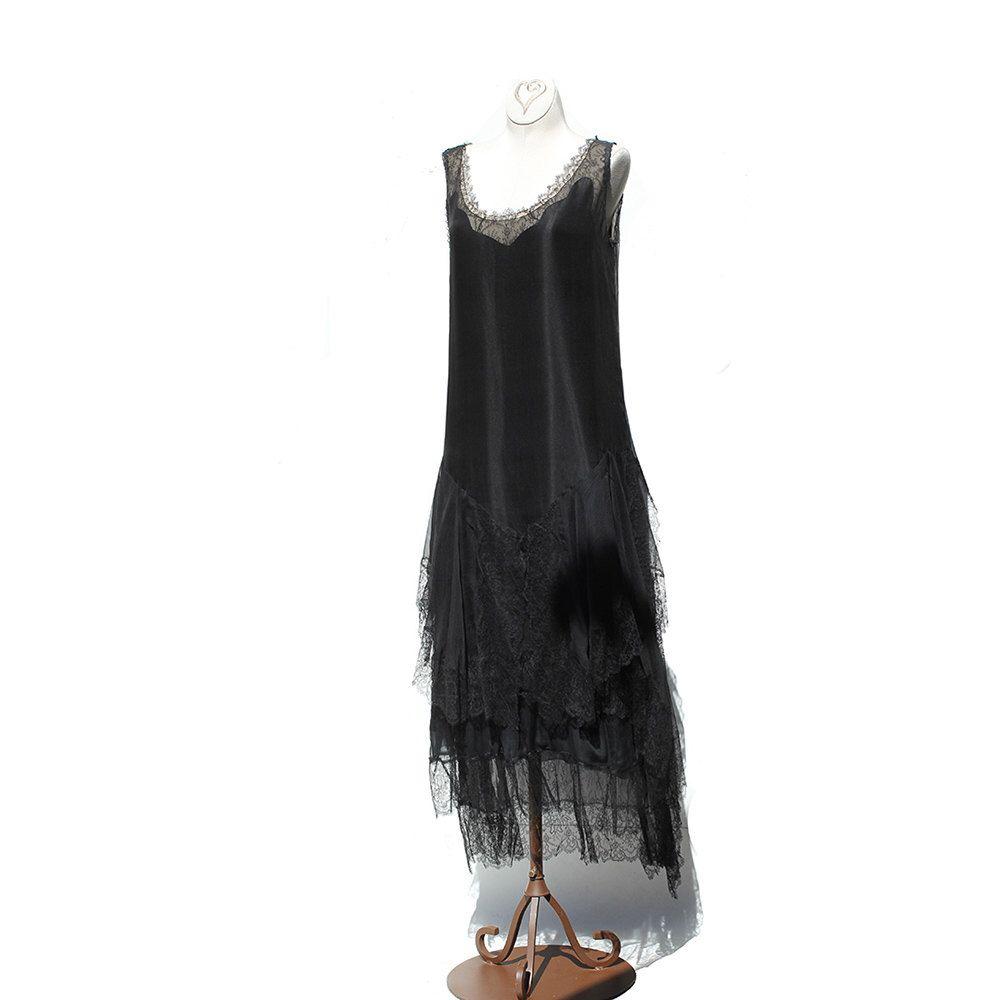 Vintage black chiffon and lace flapper dress us dress by