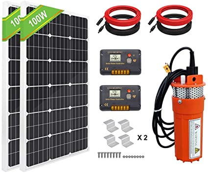 Amazon Com Eco Worthy Solar Water Pump Kit System 2pcs 100 Watts Solar Panel 24v Submersible Well Pump In 2020 Solar Water Pump Submersible Well Pump Well Pump