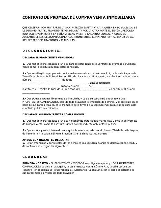 CONTRATO DE PROMESA DE COMPRA VENTA INMOBILIARIAQUE CELEBRAN POR UNA ...