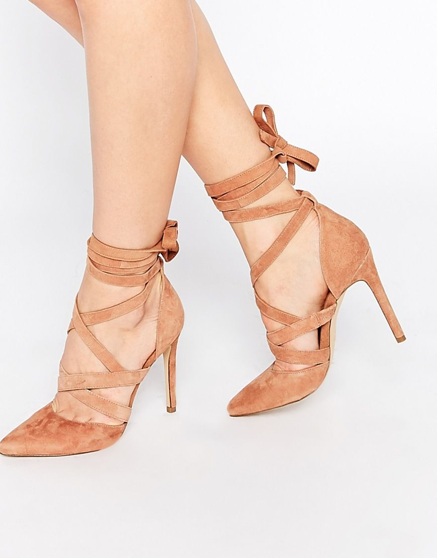 ALDO Unelilian Camel Suede Strap Heeled Shoes at asos.com