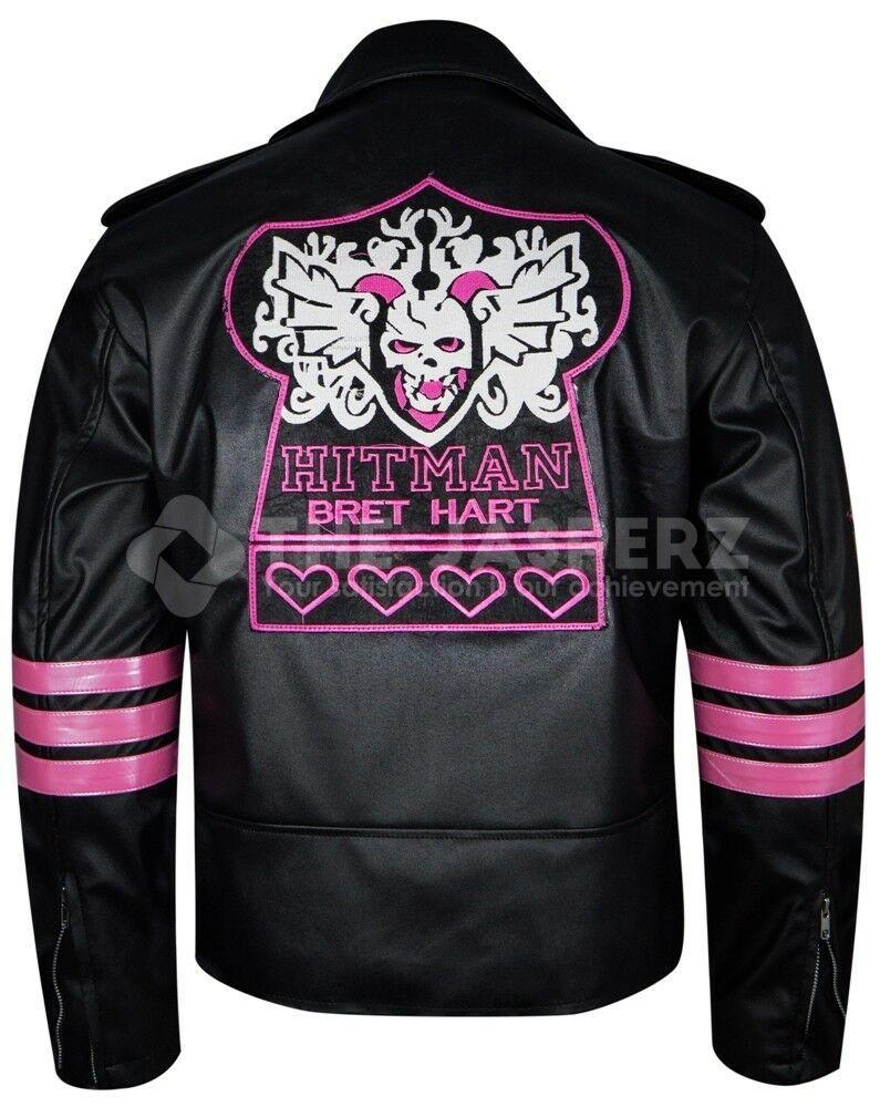 Hitman Bret Hart Black Leather Wwe Wrestler Jacket For Mens Big Sale Leather Jackets Online Leather Jacket Style Leather Jacket Men [ 1000 x 795 Pixel ]