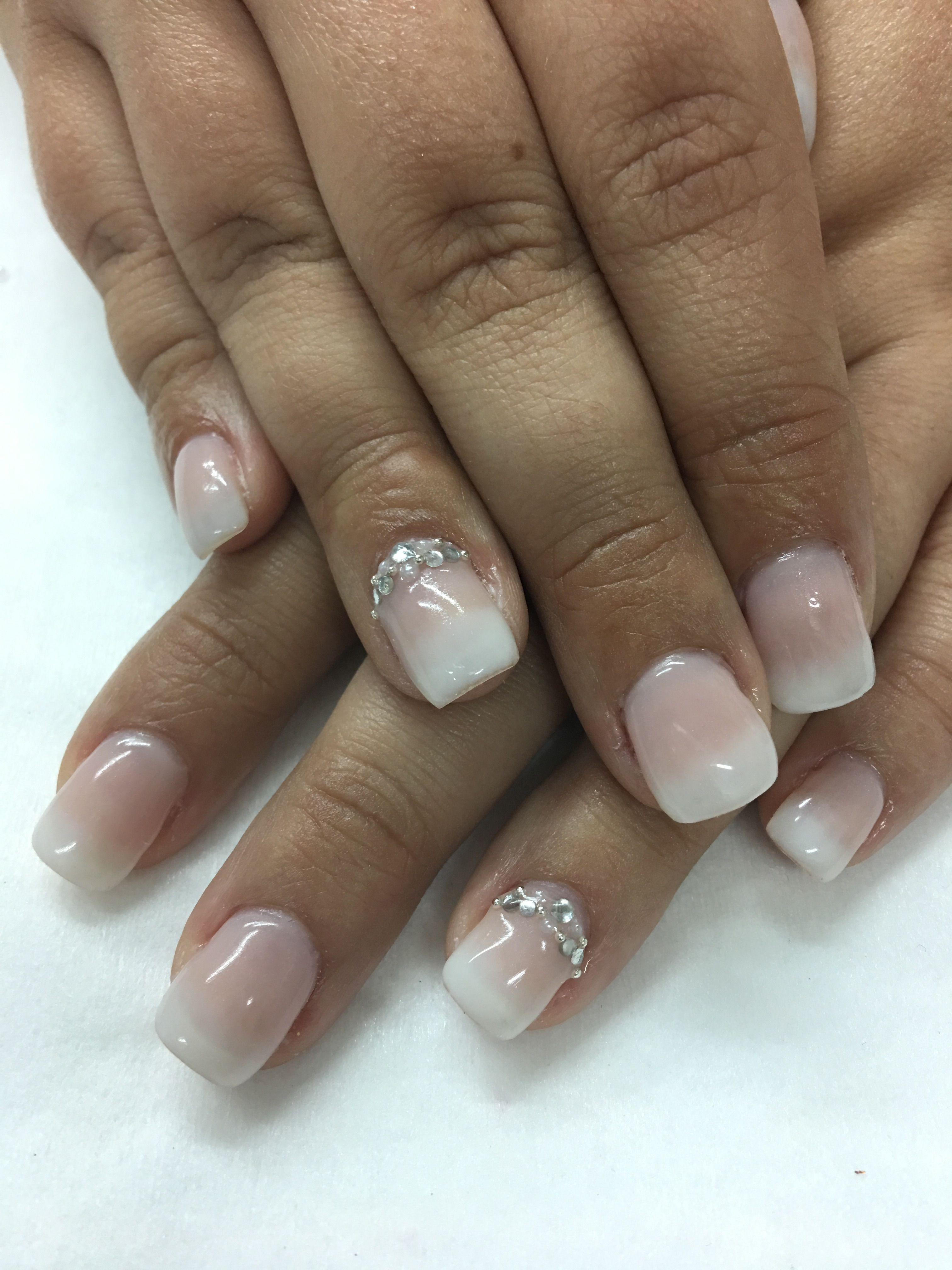 Bridal Nails French Ombre Babyboomer Rhinestone Pearl Gel