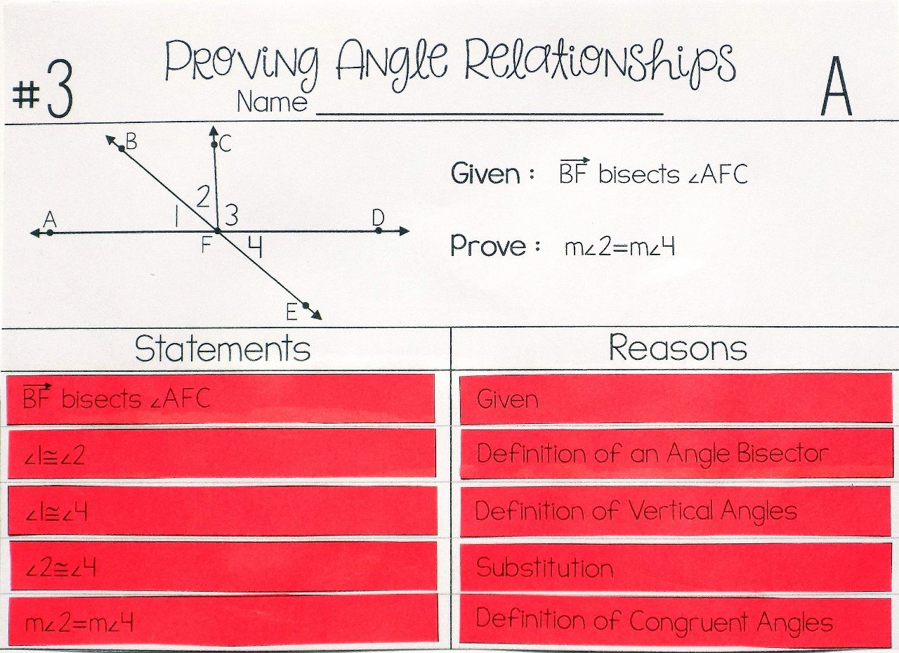 Angle Relationships Proof Activity