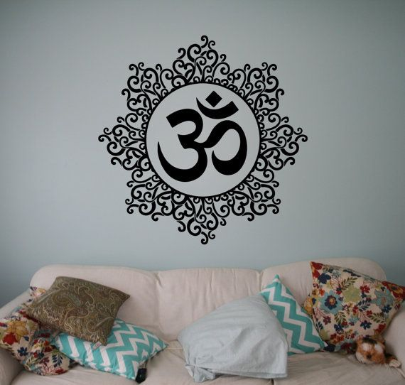Living Room Yoga Studio Coogee: Symbol Om Wall Vinyl Decal Mandala Wall Sticker Yoga