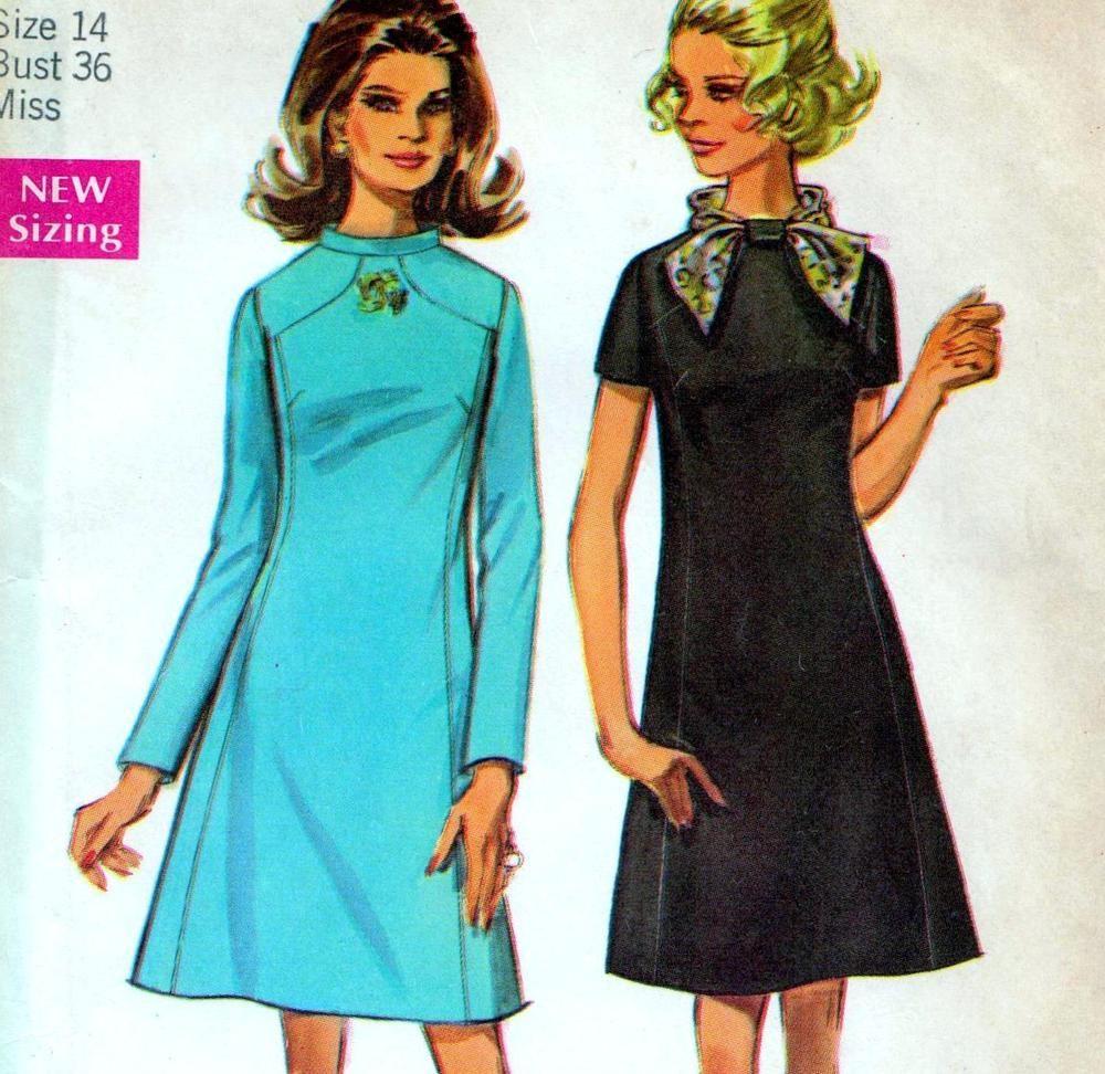 Vintage s mod dress sewing pattern ff uncut bust
