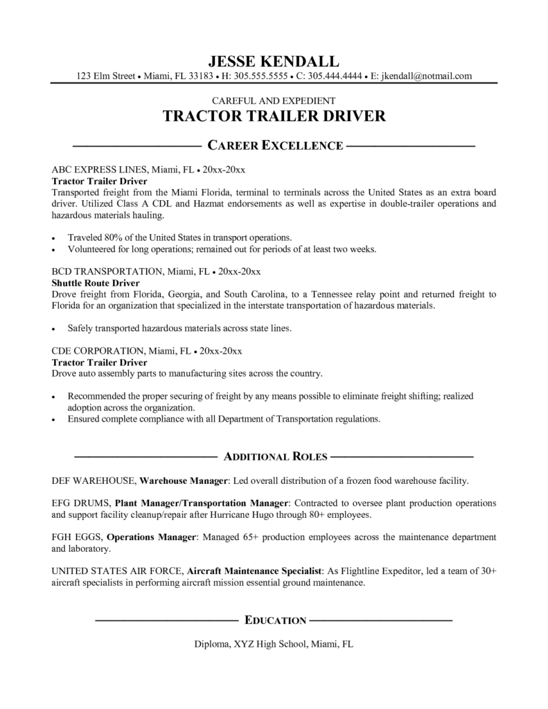 30 Truck Driver Resume Pdf Job resume examples, Resume