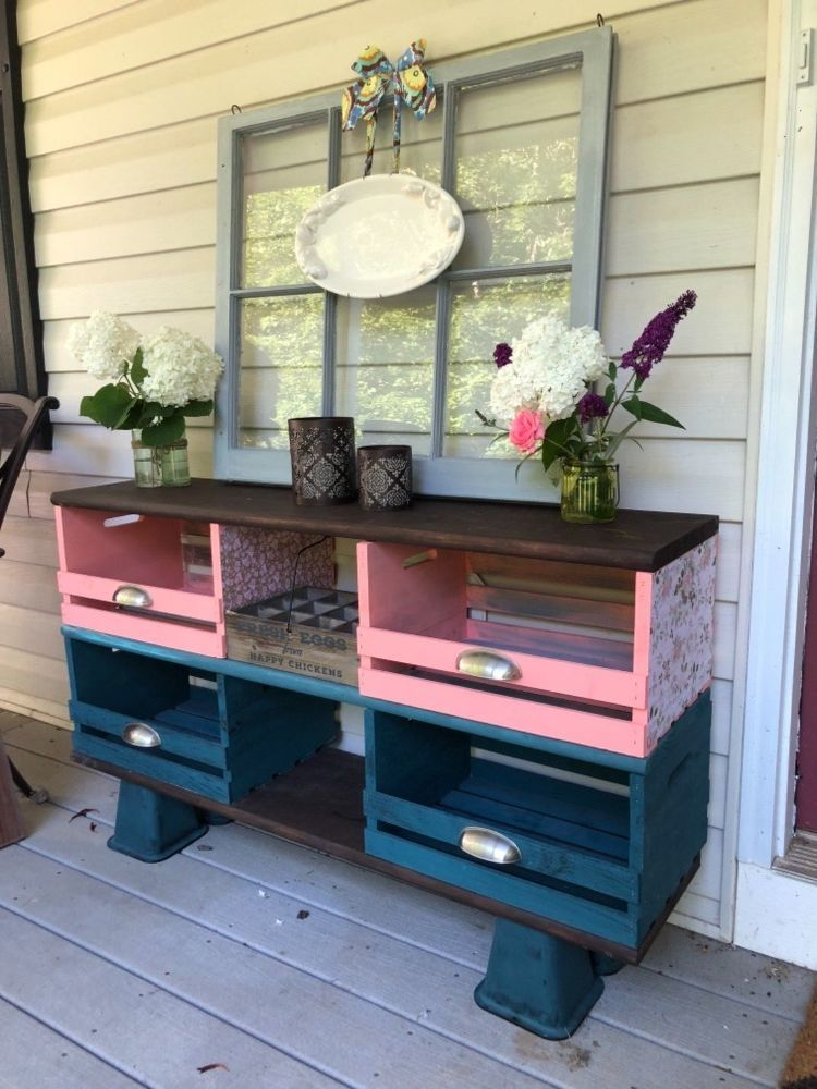 Teal And Coral Wooden Crate Storage Cubbies Shabby Chic Wood