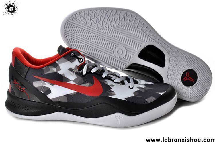 Buy Nike Zoom Kobe VIII (8) Black White Red Basketball Shoes Style 555035-