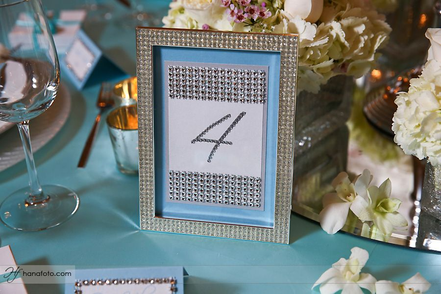 Table numbers with some rhinestone bling of their own