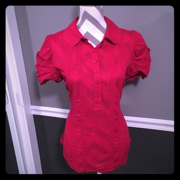Juicy Couture Red Pokadot Blouse This is one of my favorite tops perfect for work and casual with jeans!! Red Pokadot blouse button down front, puff sleeves, ties in back to give that slim look. Size 8 by juicy couture. Fits like a medium Juicy Couture Tops Blouses