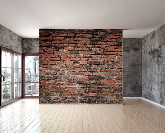 Old brick wall mural, Repositionable peel and stick material with adhesive back, for ...