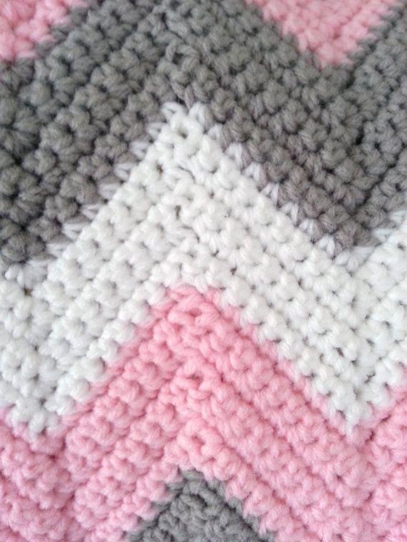 Crochet Baby Blanket Baby Girl Blanket Crochet Ripple Blanket
