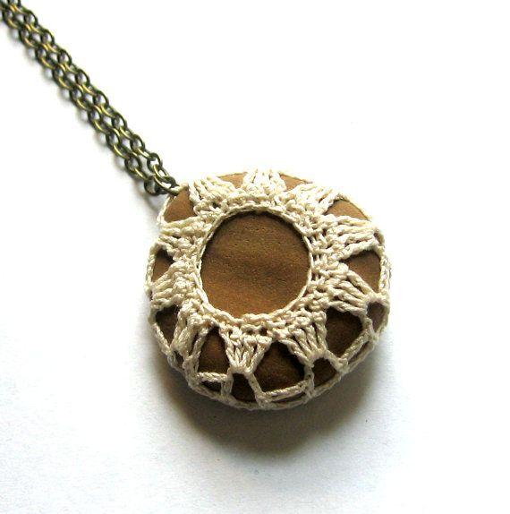 Beach Necklace Crochet Rock Pendant in Creamy Antique White ...