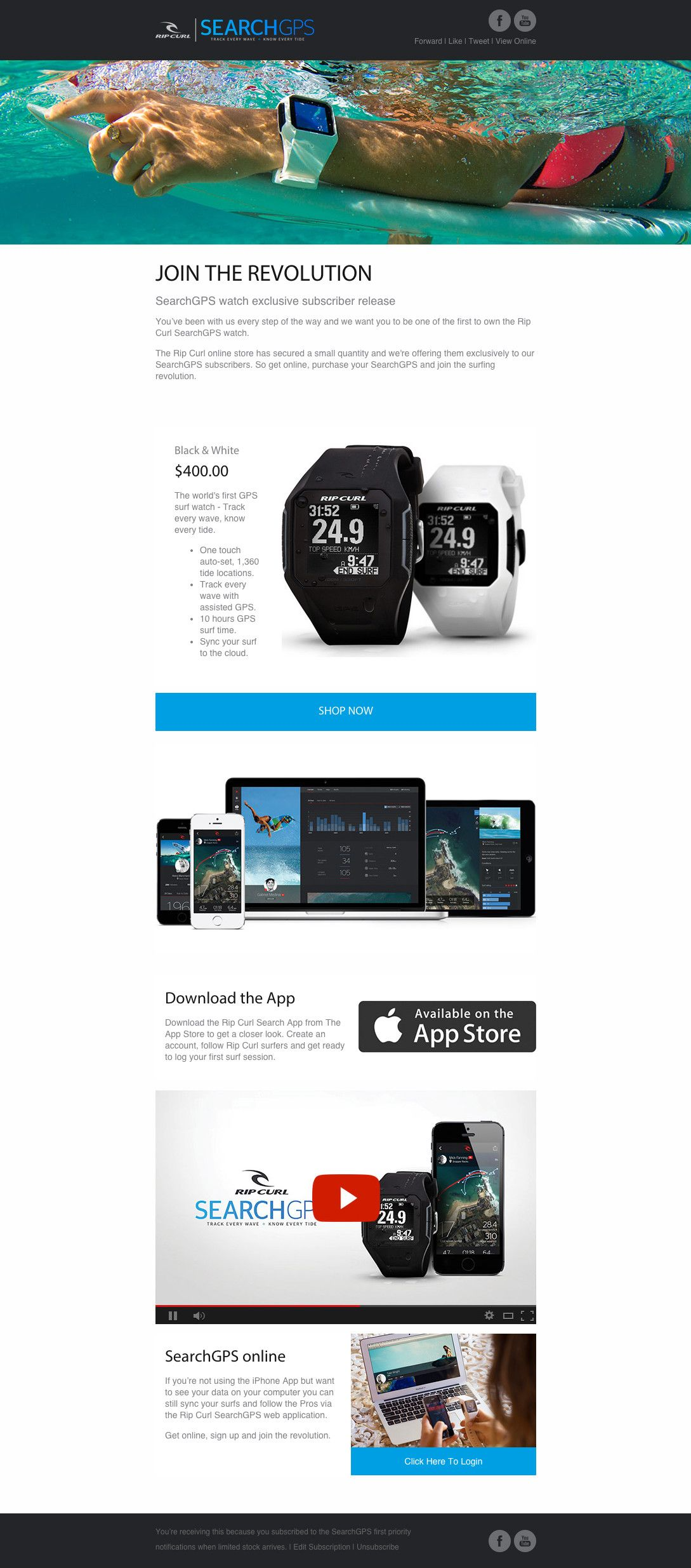 Rip Curl GPS Surf Watch Newsletter Ideas Example #email #emailmarketing  Example Of A News Letter