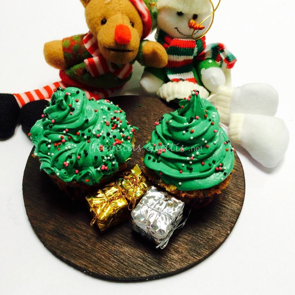 Receta de Cupcakes de árbol de Navidad