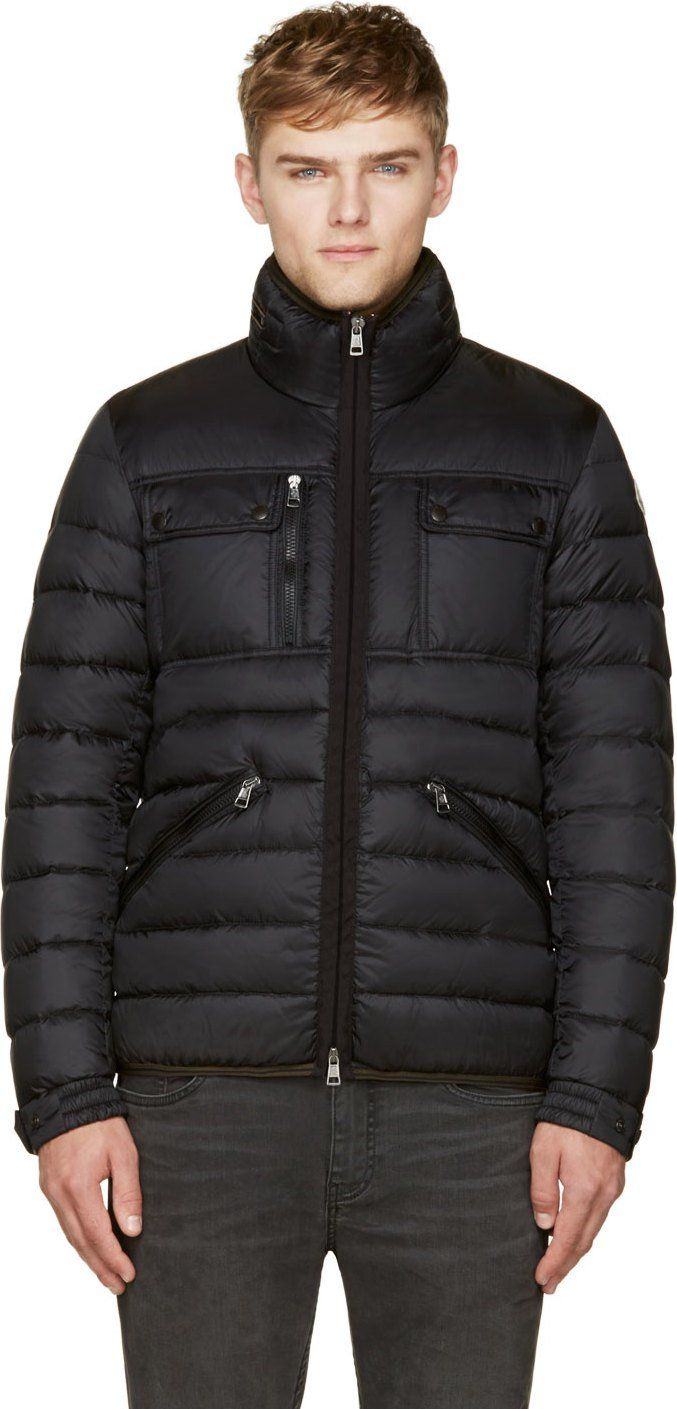c3ace95c1 Moncler: Black Quilted Down Norbert Jacket | SSENSE | men's wear ...