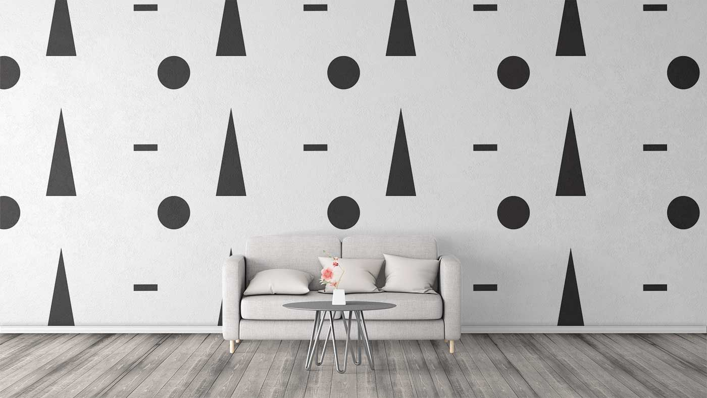 Black and white shape pattern used as design for wall art in