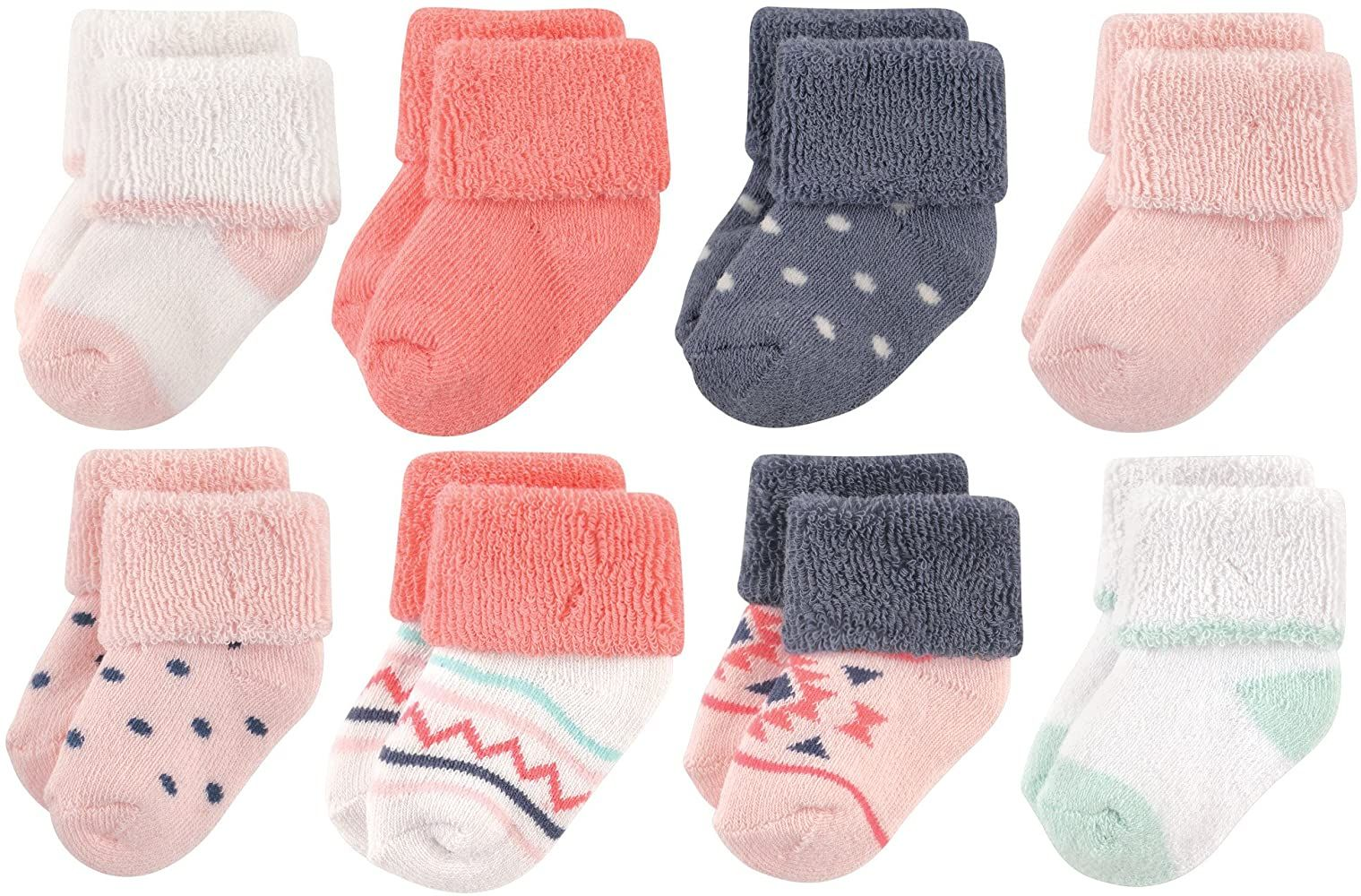 8 Pack Little Treasure Baby Terry Socks Ballerina 0-6 Months