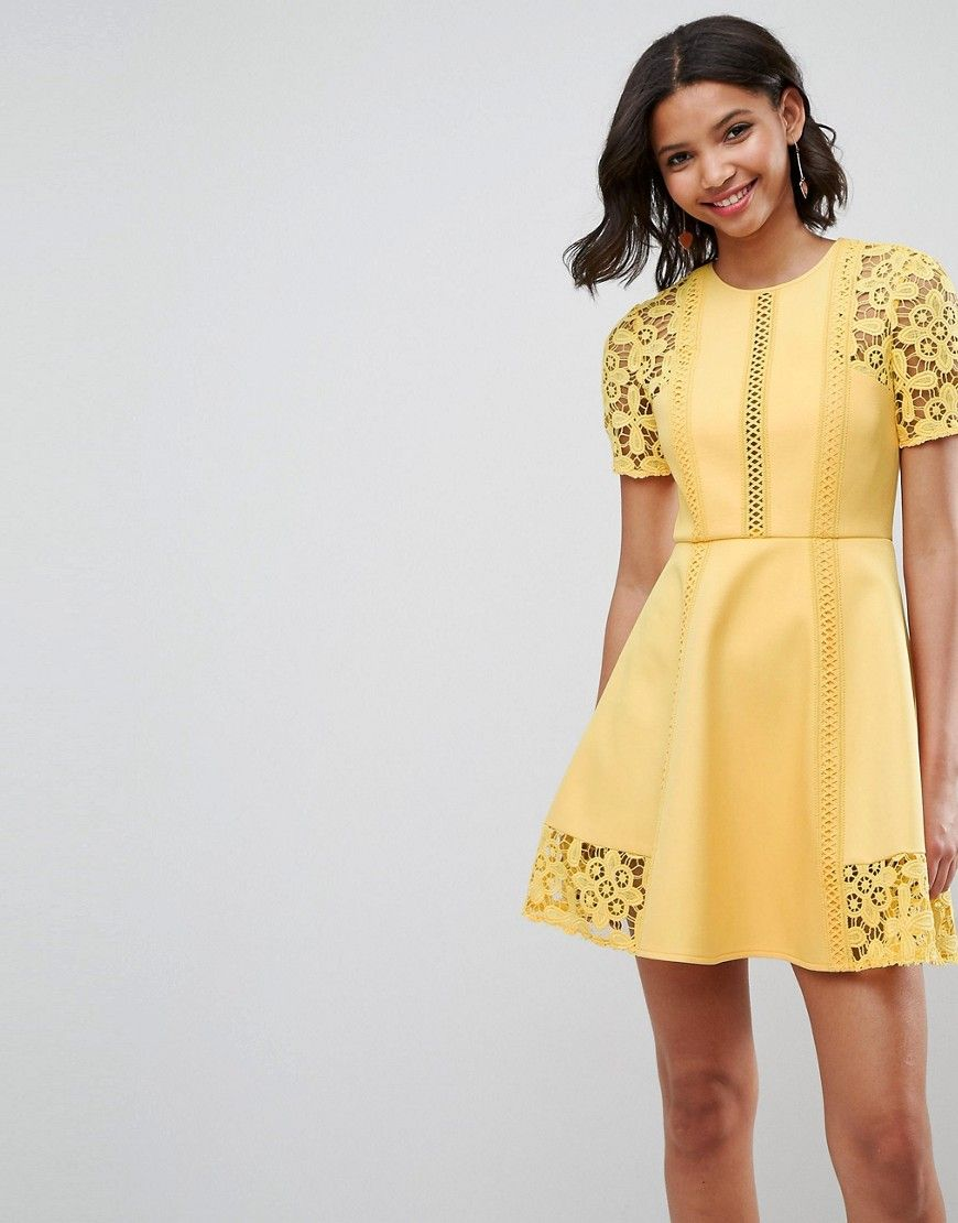Yellow dress wedding guest  Premium Lace Insert Mini Dress  Wedding guest  Pinterest  Products