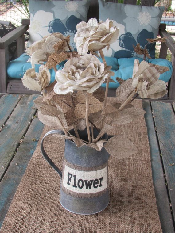 Hey, I found this really awesome Etsy listing at https://www.etsy.com/listing/185988643/floral-arrangement-burlap-rose-and-poppy