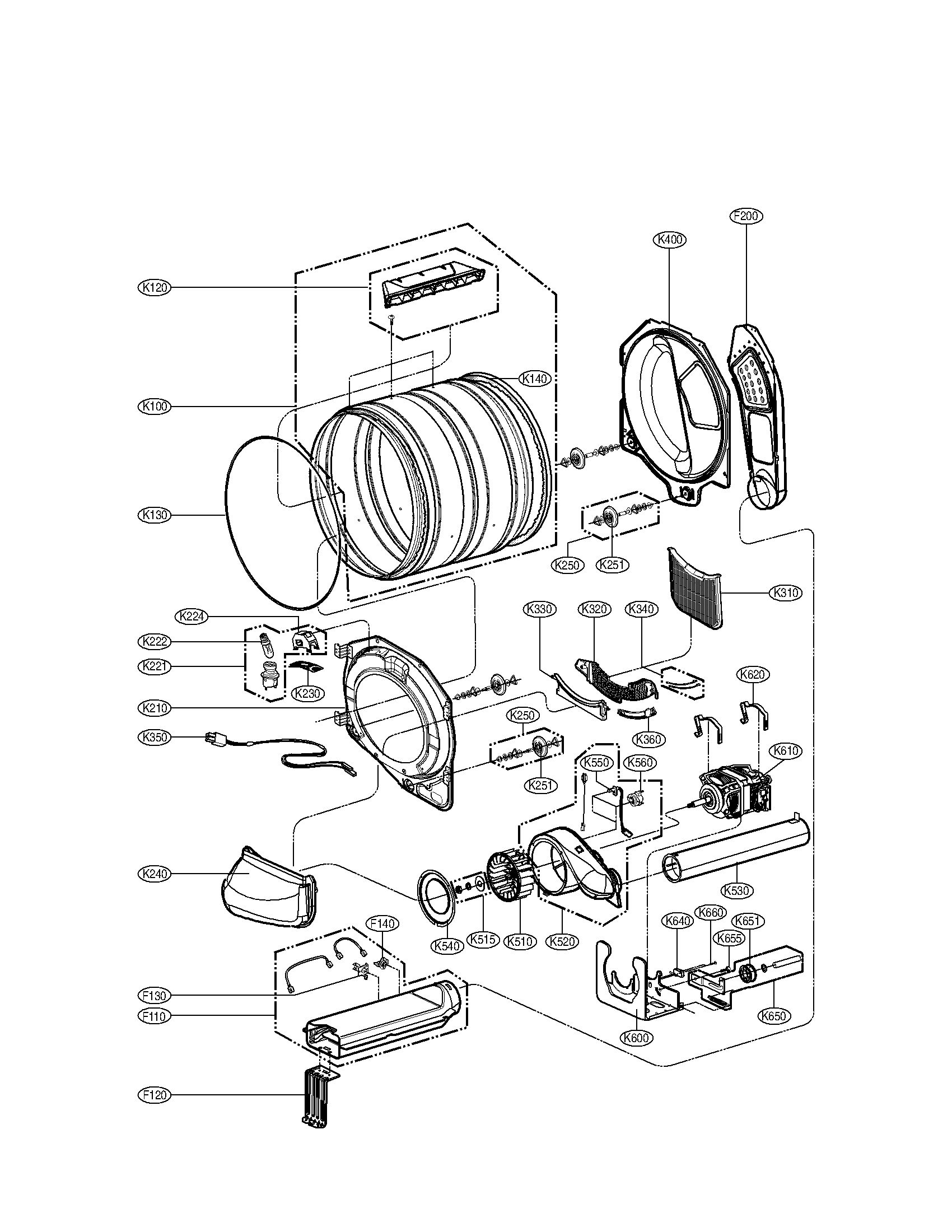 Drum and motor parts assembly diagram parts list for model dle2140w lg parts dryer parts searspartsdirect