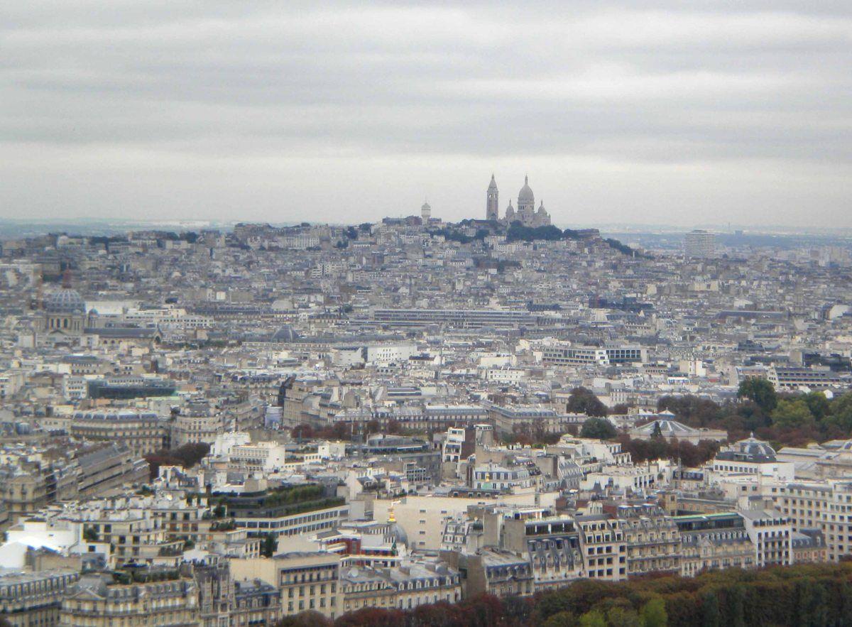 Basílica del Sacré Coeur desde la Torre Eiffel de París