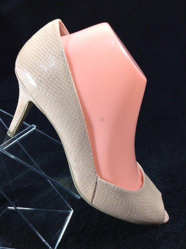 ba2507fd07e Fioni 7.5 Womens Pumps Peach Pink Fleshtone Faux Snakeskin Peep Toe Heels  Shoes  Fioni  PumpsClassics  SpecialOccasion