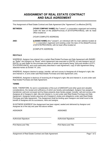 Assignment Contract Real Estate Contract Signs Youre In Love Contract Template
