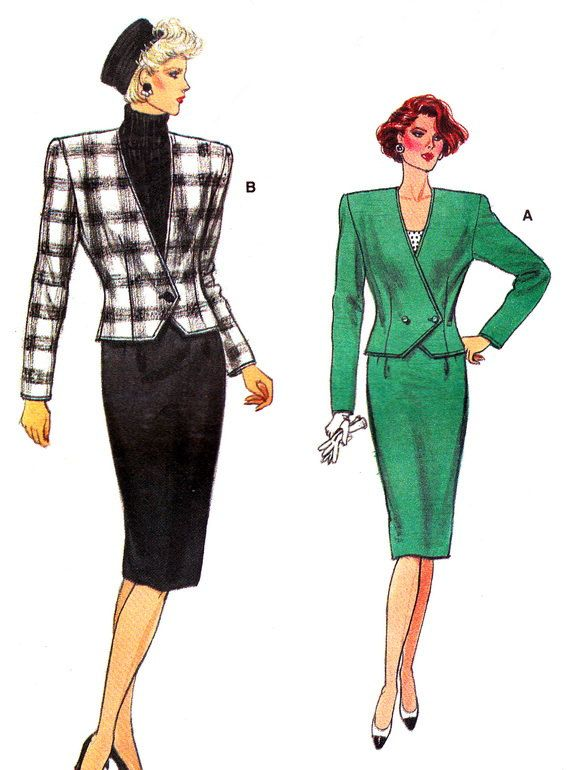 1980s Vogue 9658 Womens Two Piece Dress Power Suit By Paneenjerez