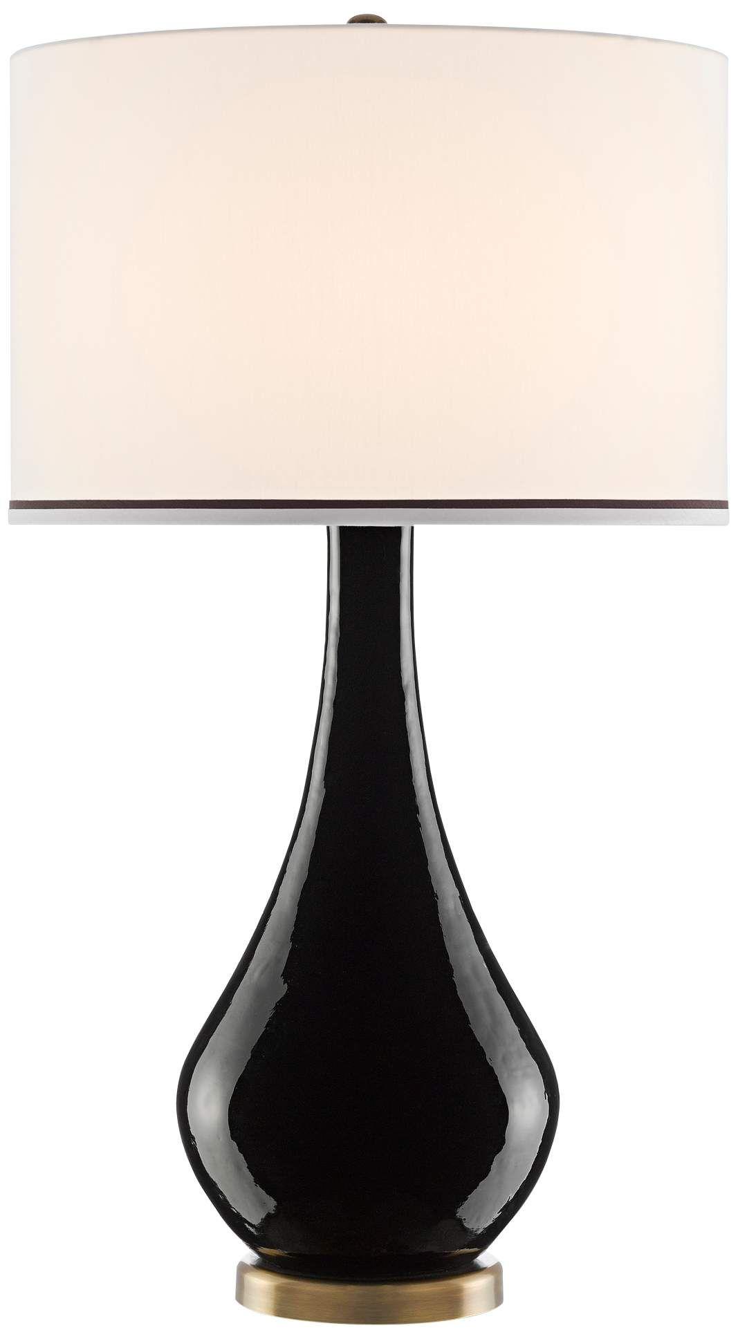 Currey And Company Tobais Black Ceramic Long Neck Table Lamp Di 2020 Dengan Gambar