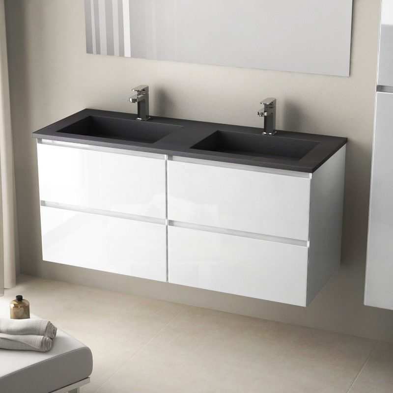 Meuble Double Vasque Pierre 121 Cm Blanc Brillant Cordoue