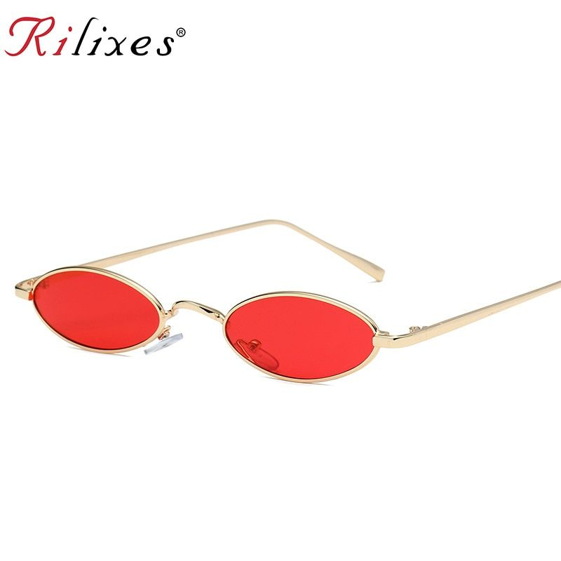Women Small Oval Sunglasses Fashion Metal Frame Men Clear Red Lens Shades Glasse