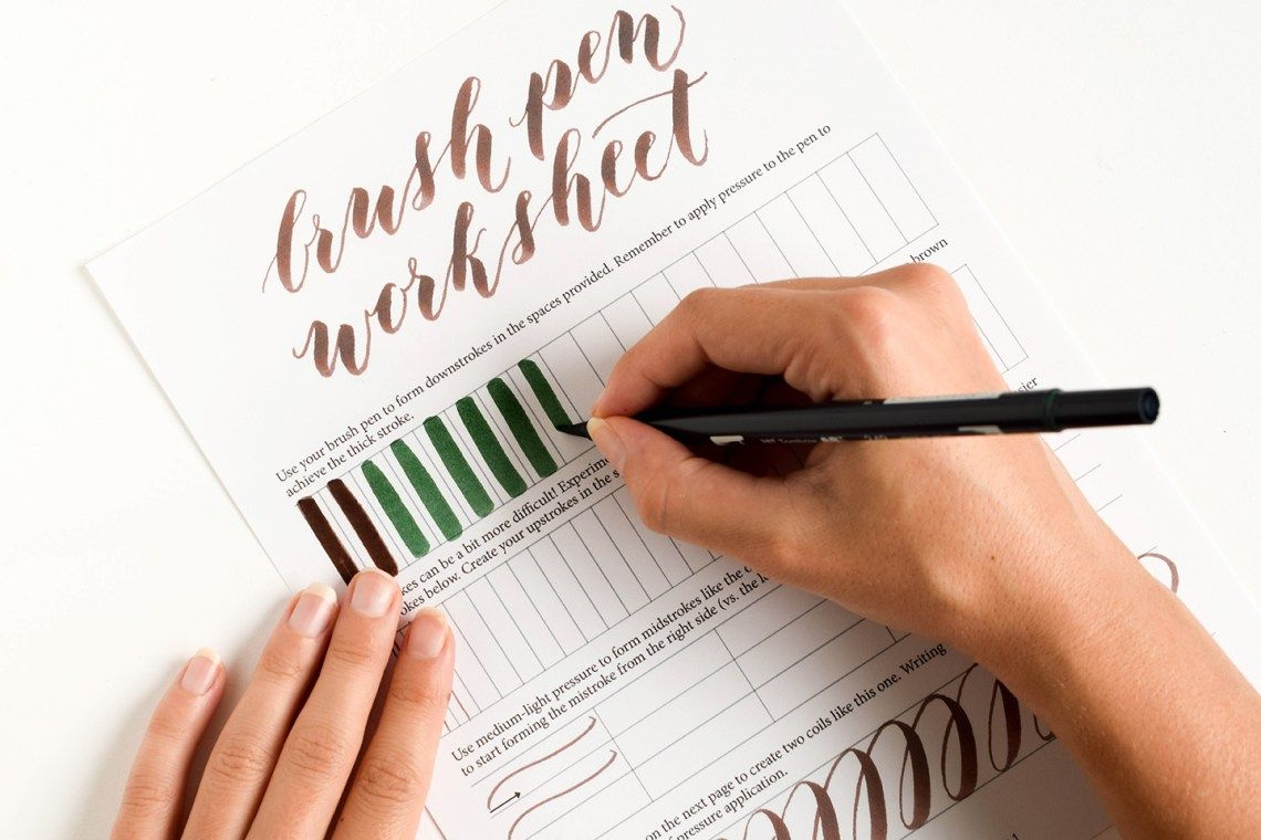 Free brush pen calligraphy worksheet brush pen calligraphy