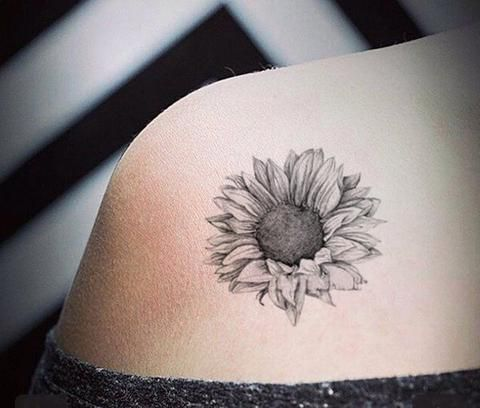 Grace Realistic Black White Sunflower Temporary Tattoo Sunflower Tattoo Shoulder Cool Tattoos Sleeve Tattoos For Women