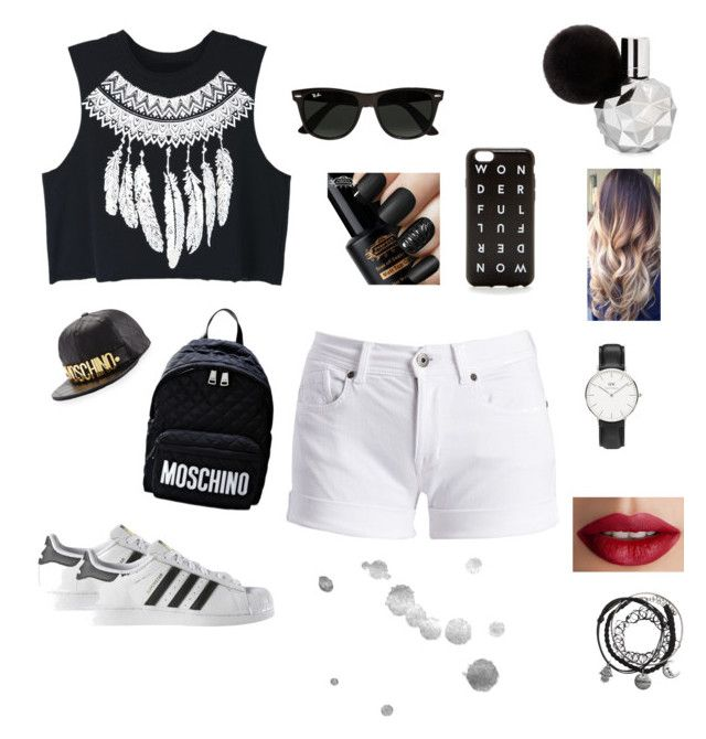 """""""Hipster Fever"""" by lemo2202 ❤ liked on Polyvore featuring WithChic, Barbour International, adidas, Moschino, J.Crew, Ray-Ban, Daniel Wellington and TheBalm"""