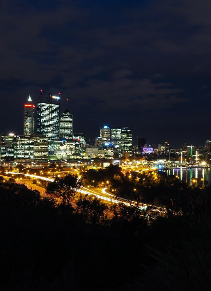City at night from Kings Park, Perth, Western Australia