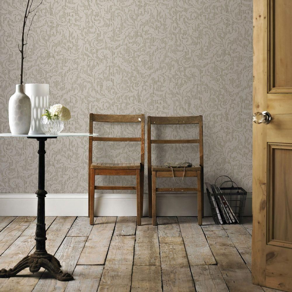 Graham & Brown White and Silver Cashmere Wallpaper 101453
