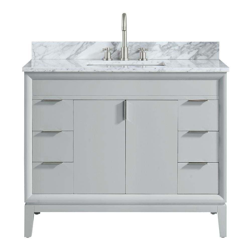 Avanity Emma 43 In W X 22 In D X 35 In H Bath Vanity In Dove Gray With Marble Vanity Top In Carrara White With Basin Marble Vanity Tops Vanity Granite Vanity Tops