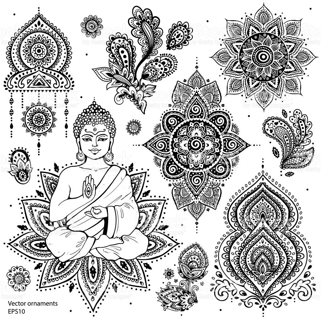 Photo of Set of ornamental Indian elements and symbols